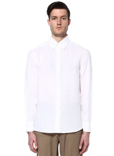 %100 Keten Uzun Kollu Gömlek-Brunello Cucinelli